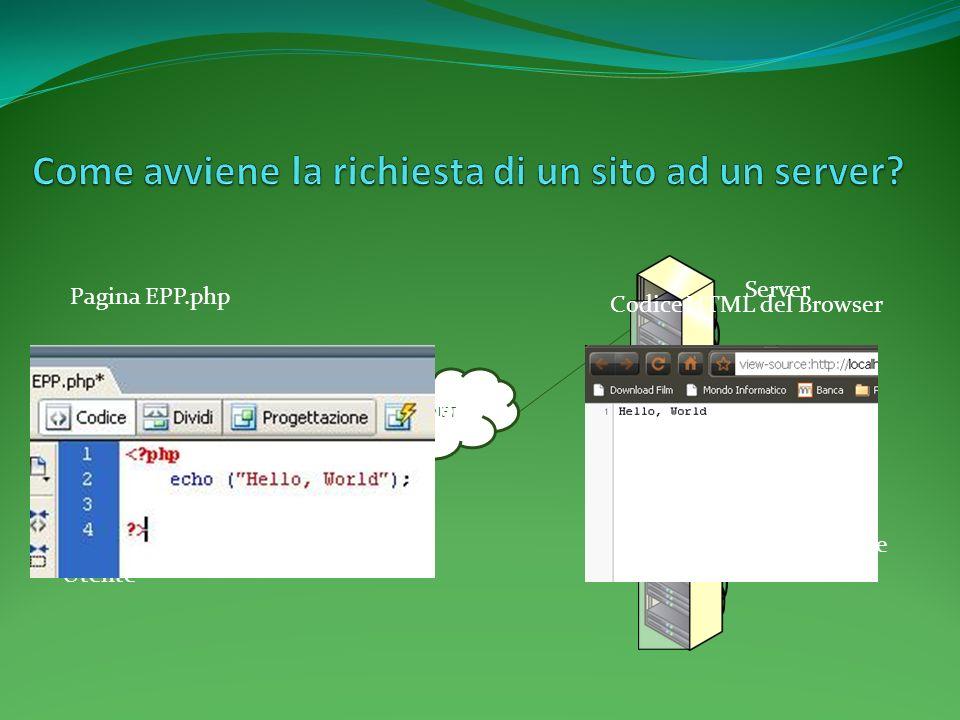 INTERNET Server Web Service Utente Per Esempio: Pagina EPP.php Codice HTML del Browser