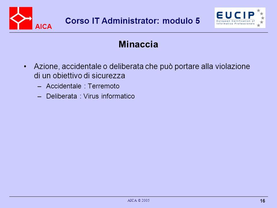 AICA Corso IT Administrator: modulo 5 AICA © 2005 16 Minaccia Azione, accidentale o deliberata che può portare alla violazione di un obiettivo di sicu