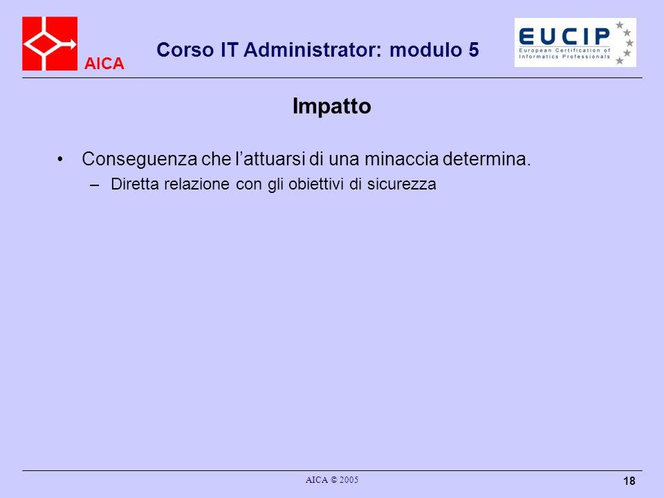 AICA Corso IT Administrator: modulo 5 AICA © 2005 18 Impatto Conseguenza che lattuarsi di una minaccia determina. –Diretta relazione con gli obiettivi