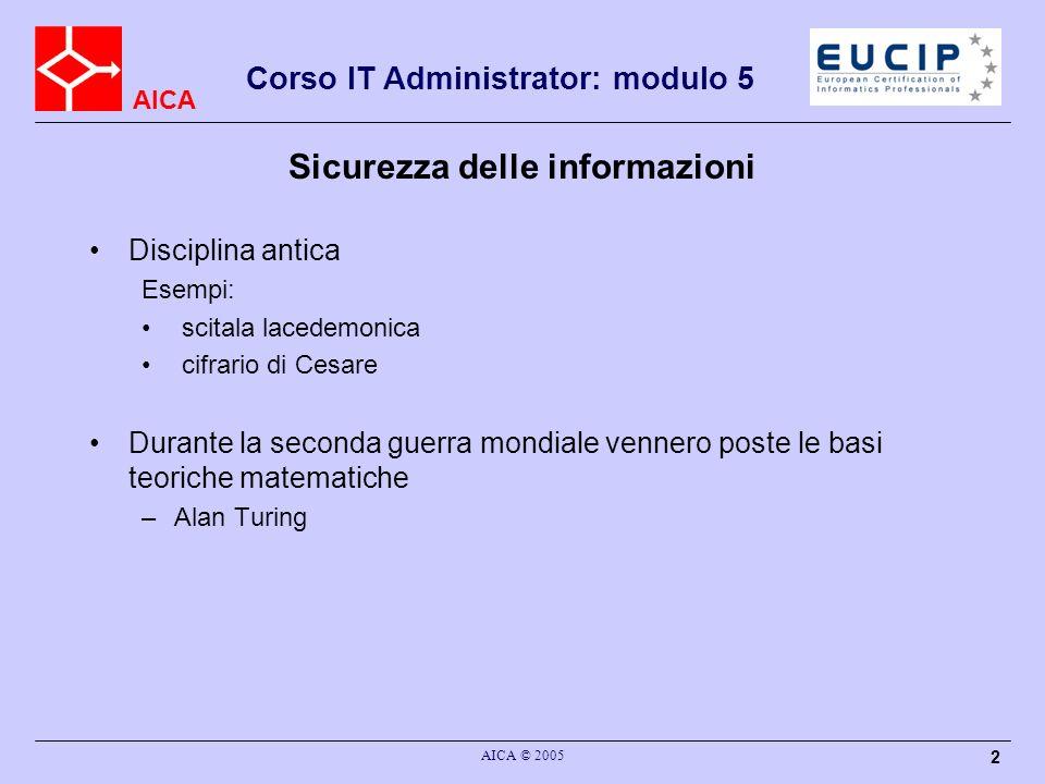 AICA Corso IT Administrator: modulo 5 AICA © 2005 2 Sicurezza delle informazioni Disciplina antica Esempi: scitala lacedemonica cifrario di Cesare Dur