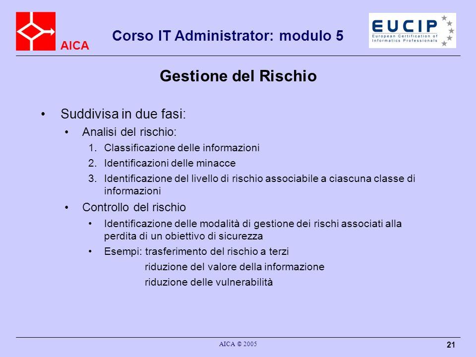 AICA Corso IT Administrator: modulo 5 AICA © 2005 21 Gestione del Rischio Suddivisa in due fasi: Analisi del rischio: 1.Classificazione delle informaz