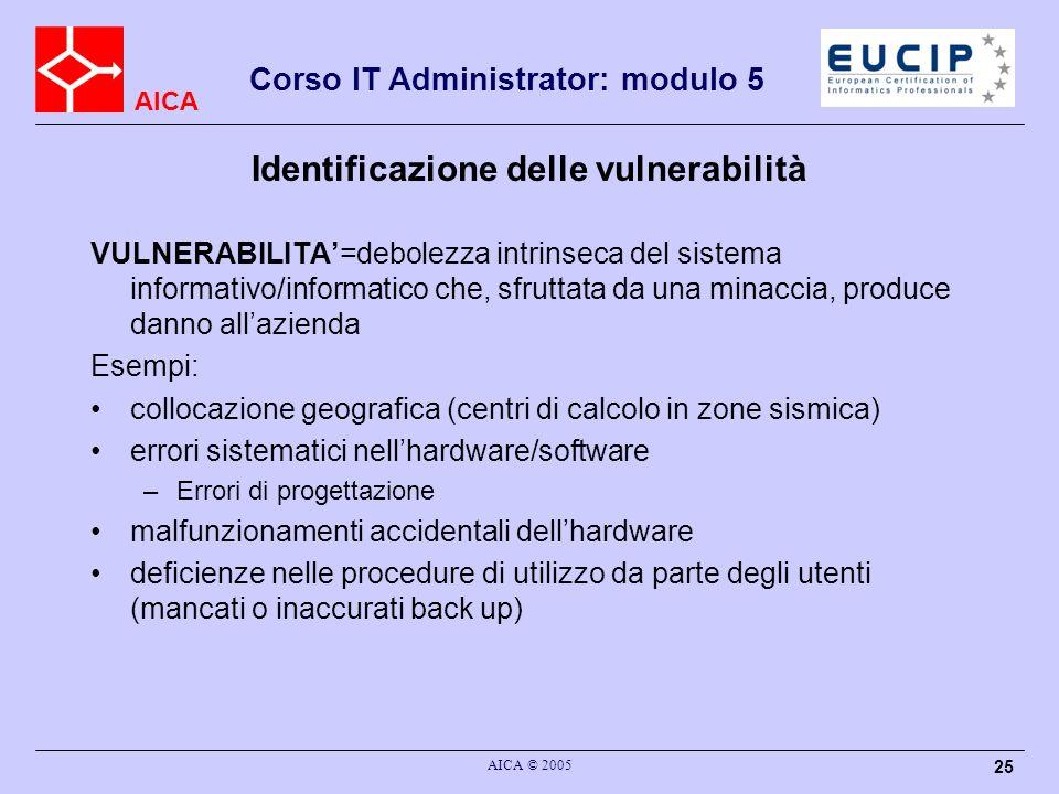 AICA Corso IT Administrator: modulo 5 AICA © 2005 25 Identificazione delle vulnerabilità VULNERABILITA=debolezza intrinseca del sistema informativo/in