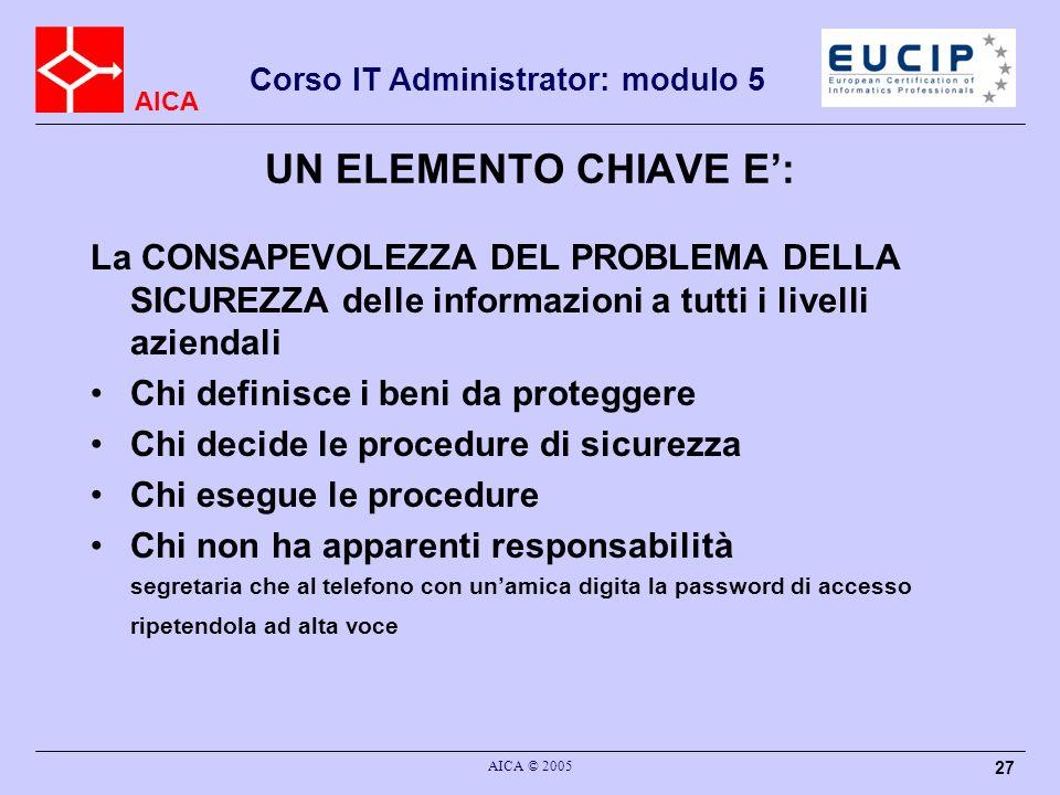 AICA Corso IT Administrator: modulo 5 AICA © 2005 27 UN ELEMENTO CHIAVE E: La CONSAPEVOLEZZA DEL PROBLEMA DELLA SICUREZZA delle informazioni a tutti i