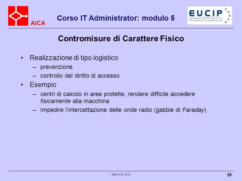 AICA Corso IT Administrator: modulo 5 AICA © 2005 29 Contromisure di Carattere Fisico Realizzazione di tipo logistico –prevenzione –controllo del diri