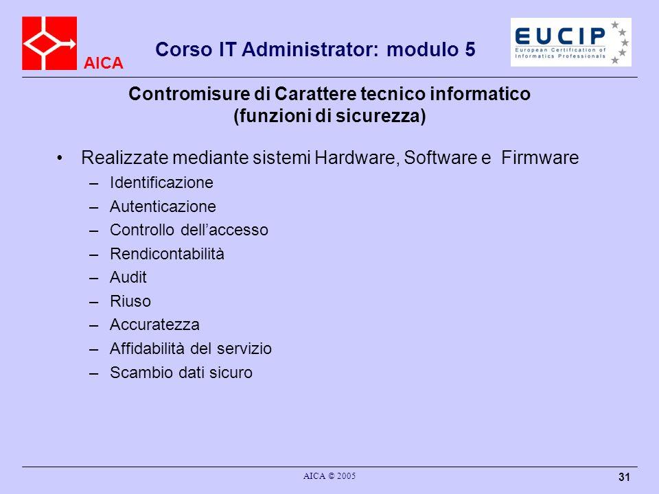 AICA Corso IT Administrator: modulo 5 AICA © 2005 31 Contromisure di Carattere tecnico informatico (funzioni di sicurezza) Realizzate mediante sistemi