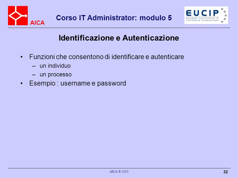 AICA Corso IT Administrator: modulo 5 AICA © 2005 32 Identificazione e Autenticazione Funzioni che consentono di identificare e autenticare –un indivi