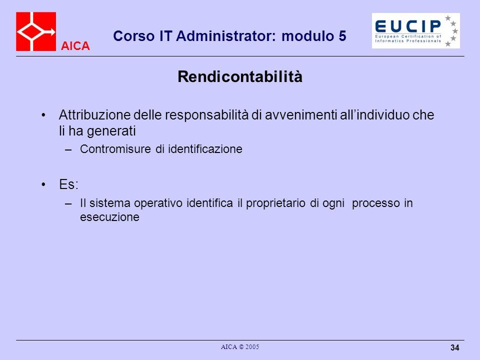 AICA Corso IT Administrator: modulo 5 AICA © 2005 34 Rendicontabilità Attribuzione delle responsabilità di avvenimenti allindividuo che li ha generati