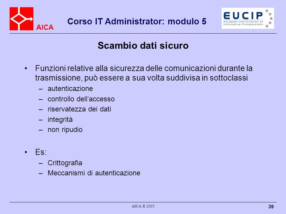AICA Corso IT Administrator: modulo 5 AICA © 2005 39 Scambio dati sicuro Funzioni relative alla sicurezza delle comunicazioni durante la trasmissione,
