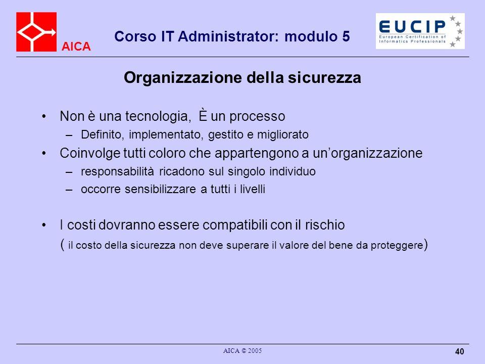AICA Corso IT Administrator: modulo 5 AICA © 2005 40 Organizzazione della sicurezza Non è una tecnologia, È un processo –Definito, implementato, gesti