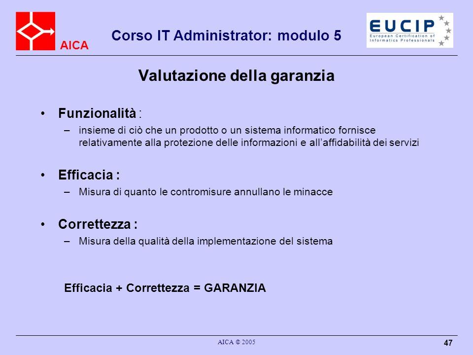 AICA Corso IT Administrator: modulo 5 AICA © 2005 47 Valutazione della garanzia Funzionalità : –insieme di ciò che un prodotto o un sistema informatic