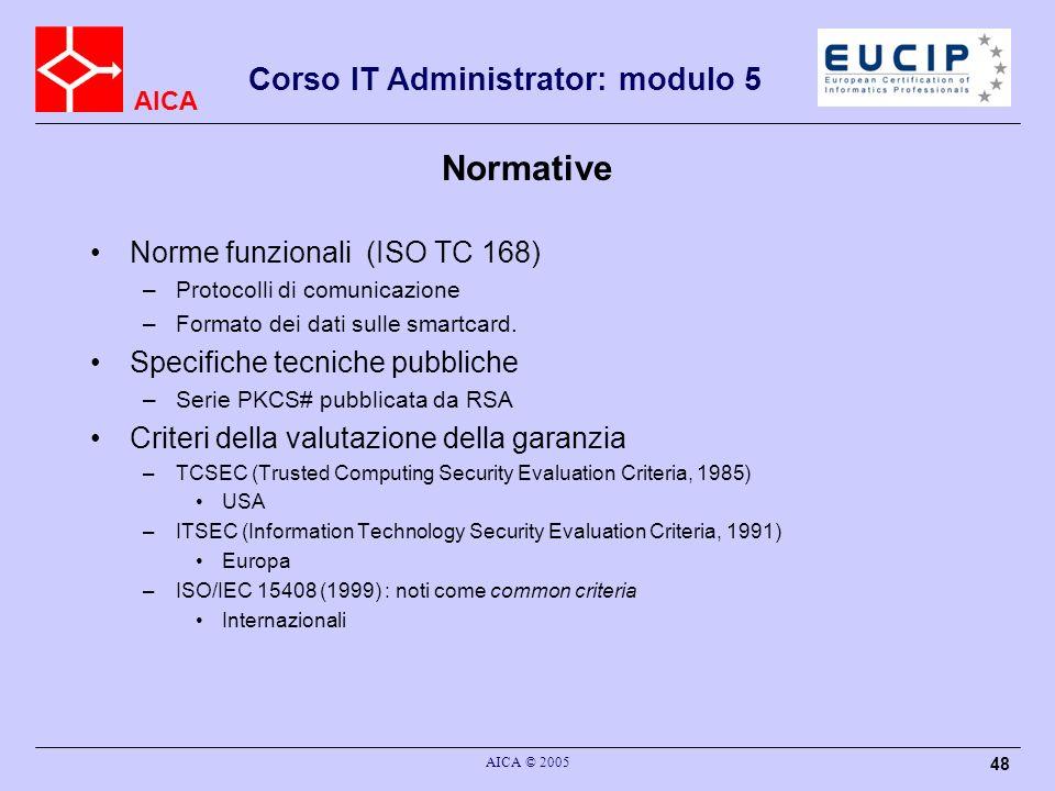 AICA Corso IT Administrator: modulo 5 AICA © 2005 48 Normative Norme funzionali (ISO TC 168) –Protocolli di comunicazione –Formato dei dati sulle smar