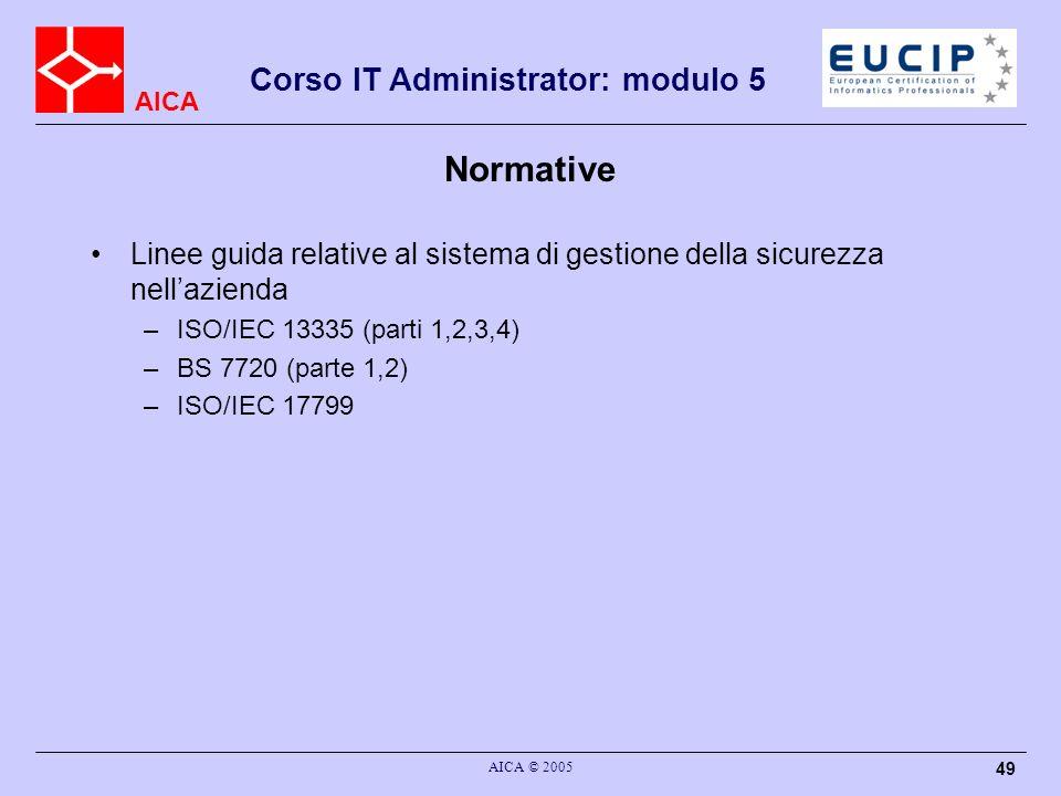 AICA Corso IT Administrator: modulo 5 AICA © 2005 49 Normative Linee guida relative al sistema di gestione della sicurezza nellazienda –ISO/IEC 13335