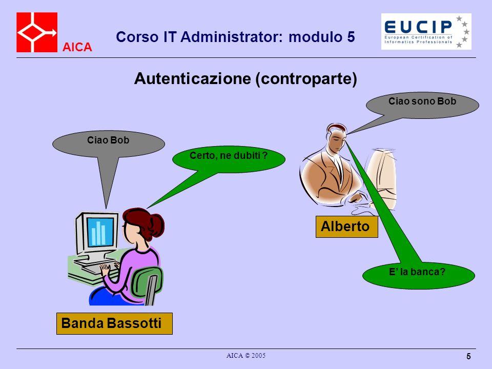 AICA Corso IT Administrator: modulo 5 AICA © 2005 5 Autenticazione (controparte) Alberto Ciao sono Bob Ciao Bob Banda Bassotti E la banca? Certo, ne d