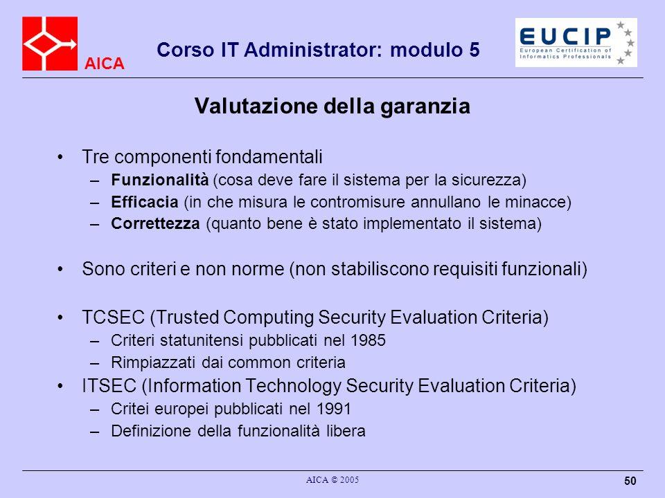 AICA Corso IT Administrator: modulo 5 AICA © 2005 50 Valutazione della garanzia Tre componenti fondamentali –Funzionalità (cosa deve fare il sistema p