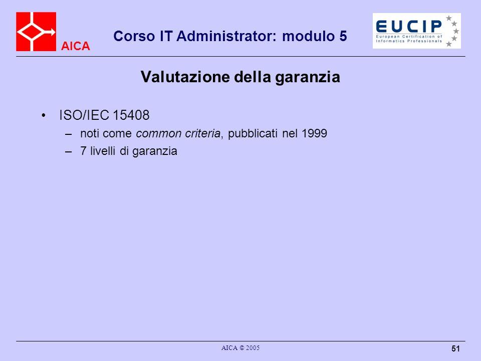AICA Corso IT Administrator: modulo 5 AICA © 2005 51 Valutazione della garanzia ISO/IEC 15408 –noti come common criteria, pubblicati nel 1999 –7 livel