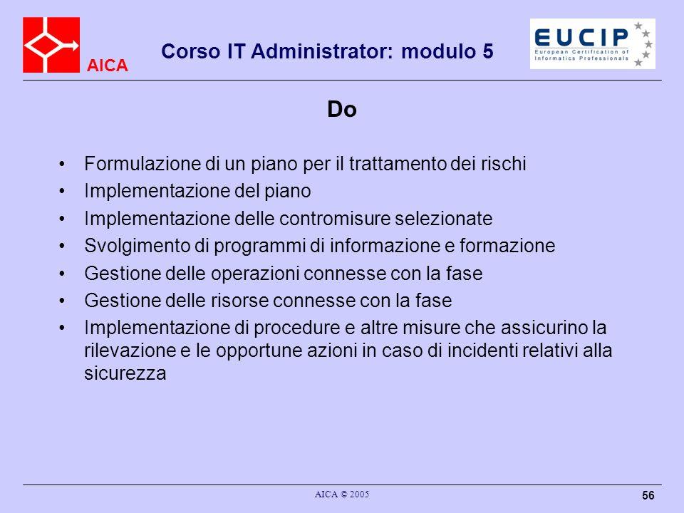 AICA Corso IT Administrator: modulo 5 AICA © 2005 56 Do Formulazione di un piano per il trattamento dei rischi Implementazione del piano Implementazio