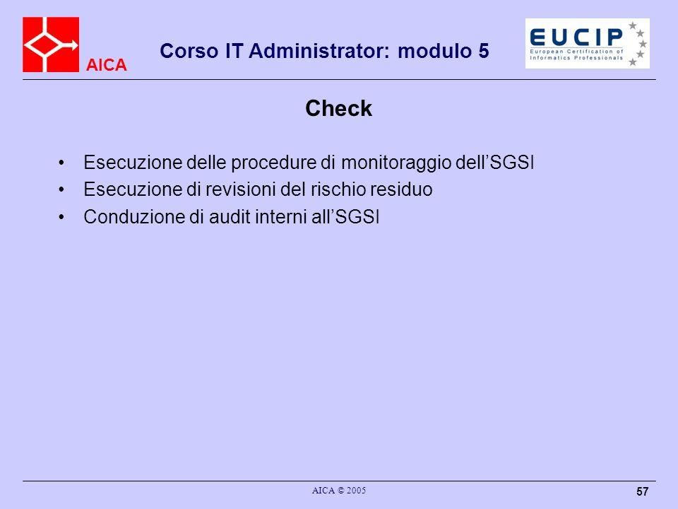 AICA Corso IT Administrator: modulo 5 AICA © 2005 57 Check Esecuzione delle procedure di monitoraggio dellSGSI Esecuzione di revisioni del rischio res
