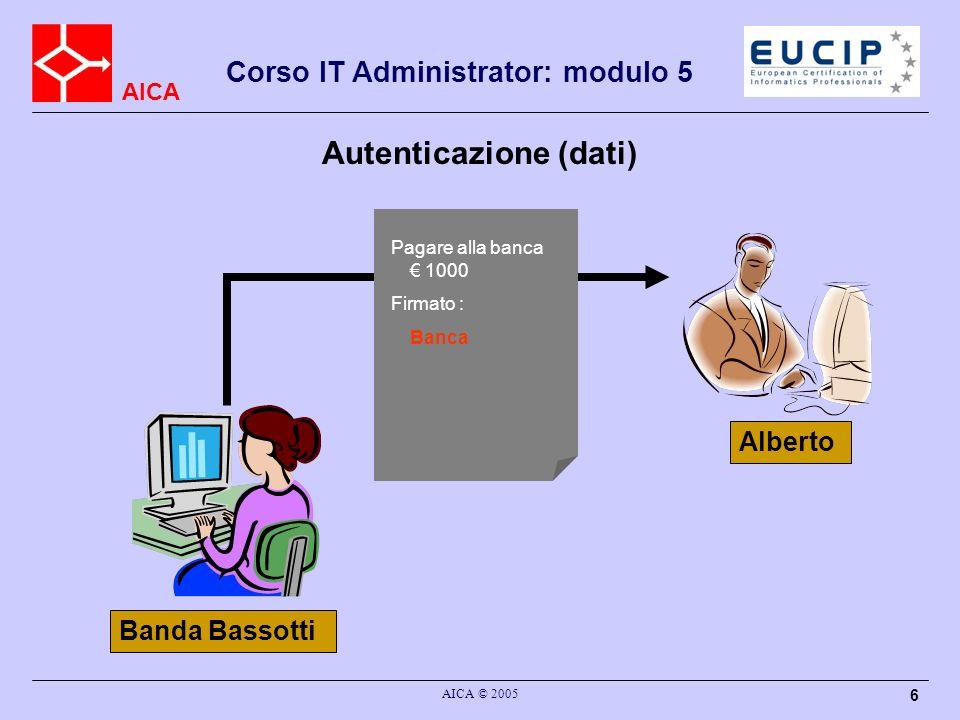 AICA Corso IT Administrator: modulo 5 AICA © 2005 6 Autenticazione (dati) Alberto Banda Bassotti Pagare alla banca 1000 Firmato : Banca
