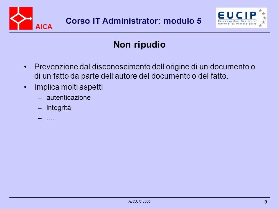 AICA Corso IT Administrator: modulo 5 AICA © 2005 9 Non ripudio Prevenzione dal disconoscimento dellorigine di un documento o di un fatto da parte del