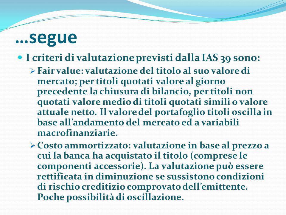 …segue I criteri di valutazione previsti dalla IAS 39 sono: Fair value: valutazione del titolo al suo valore di mercato; per titoli quotati valore al giorno precedente la chiusura di bilancio, per titoli non quotati valore medio di titoli quotati simili o valore attuale netto.