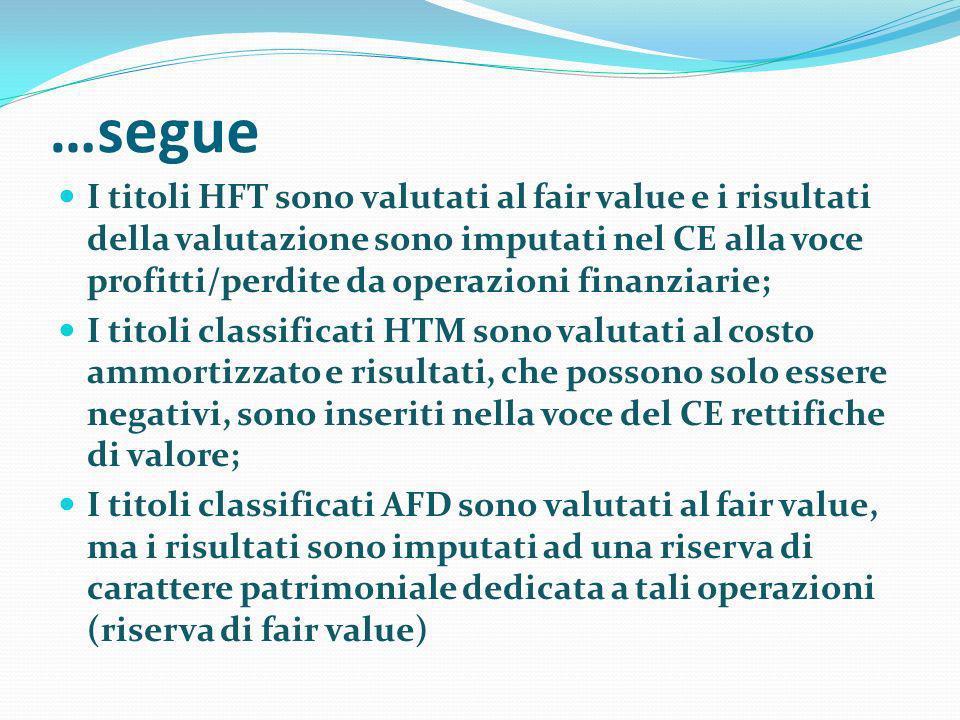 …segue I titoli HFT sono valutati al fair value e i risultati della valutazione sono imputati nel CE alla voce profitti/perdite da operazioni finanzia