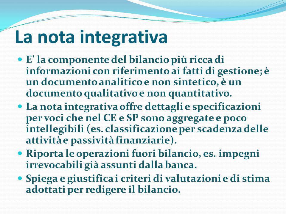 La nota integrativa E la componente del bilancio più ricca di informazioni con riferimento ai fatti di gestione; è un documento analitico e non sintet