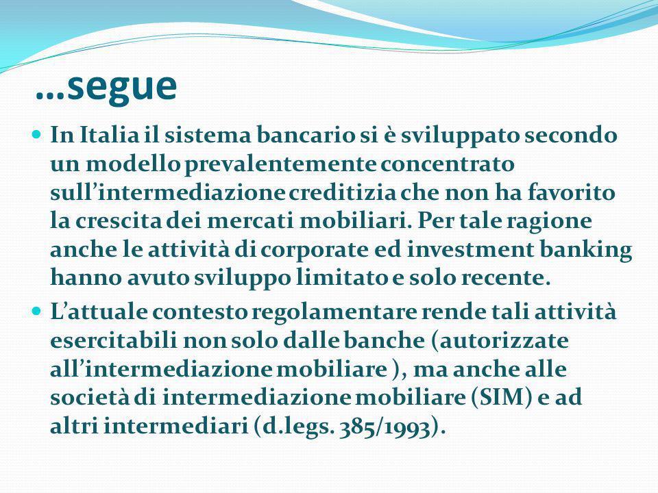 …segue In Italia il sistema bancario si è sviluppato secondo un modello prevalentemente concentrato sullintermediazione creditizia che non ha favorito