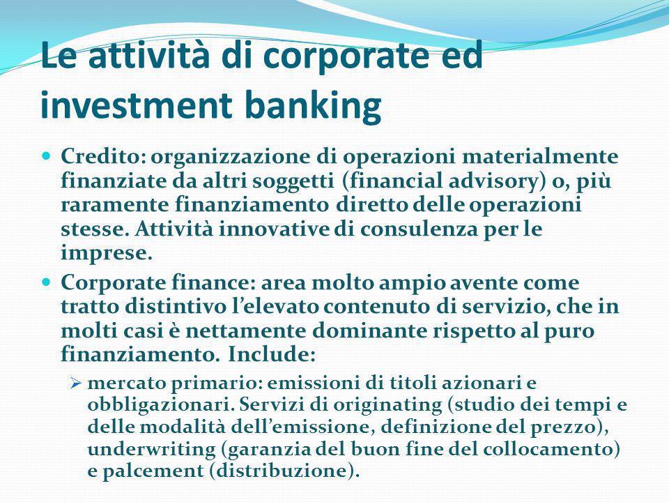 Le attività di corporate ed investment banking Credito: organizzazione di operazioni materialmente finanziate da altri soggetti (financial advisory) o, più raramente finanziamento diretto delle operazioni stesse.