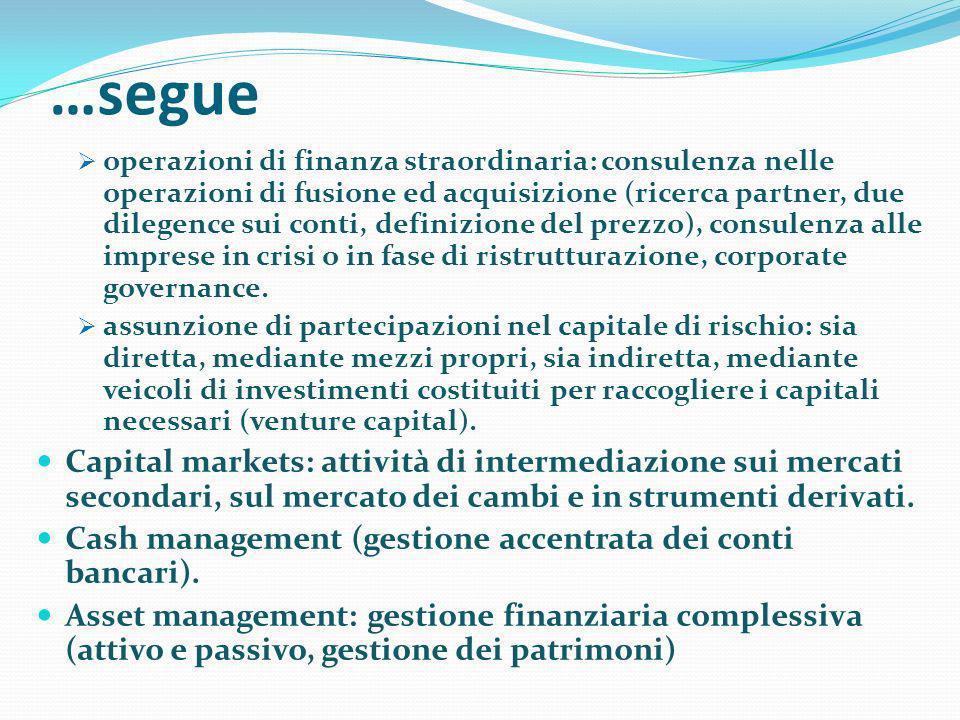 …segue operazioni di finanza straordinaria: consulenza nelle operazioni di fusione ed acquisizione (ricerca partner, due dilegence sui conti, definizi