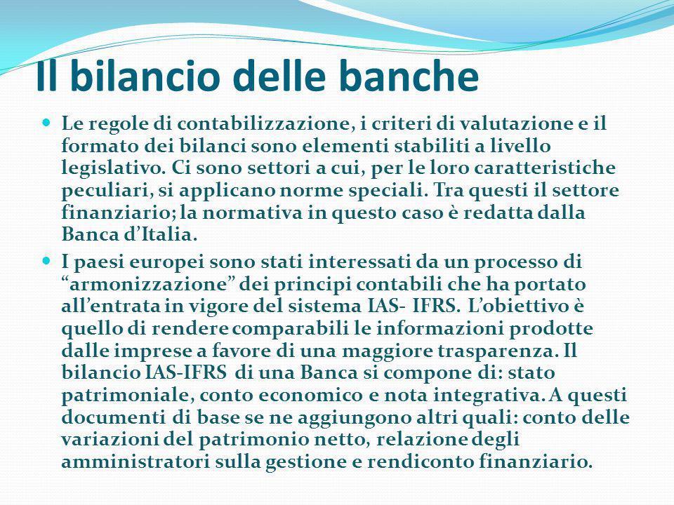 Il bilancio delle banche Le regole di contabilizzazione, i criteri di valutazione e il formato dei bilanci sono elementi stabiliti a livello legislati