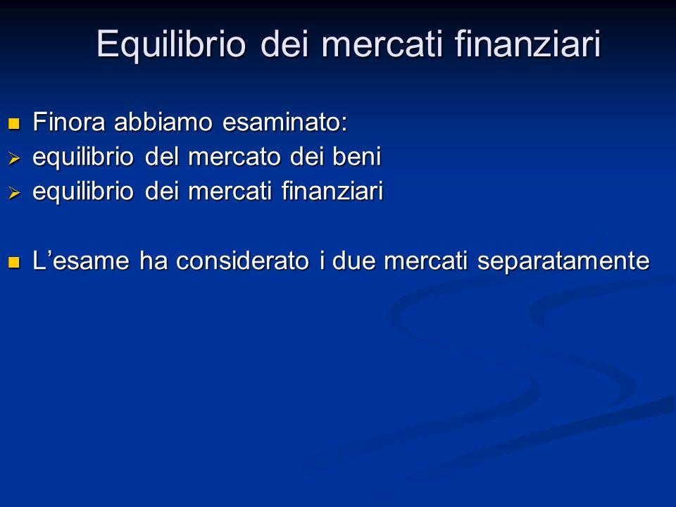 Finora abbiamo esaminato: Finora abbiamo esaminato: equilibrio del mercato dei beni equilibrio del mercato dei beni equilibrio dei mercati finanziari equilibrio dei mercati finanziari Lesame ha considerato i due mercati separatamente Lesame ha considerato i due mercati separatamente Equilibrio dei mercati finanziari