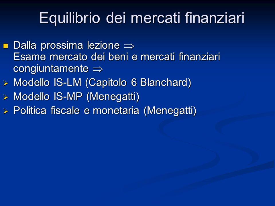 Dalla prossima lezione Esame mercato dei beni e mercati finanziari congiuntamente Dalla prossima lezione Esame mercato dei beni e mercati finanziari congiuntamente Modello IS-LM (Capitolo 6 Blanchard) Modello IS-LM (Capitolo 6 Blanchard) Modello IS-MP (Menegatti) Modello IS-MP (Menegatti) Politica fiscale e monetaria (Menegatti) Politica fiscale e monetaria (Menegatti) Equilibrio dei mercati finanziari