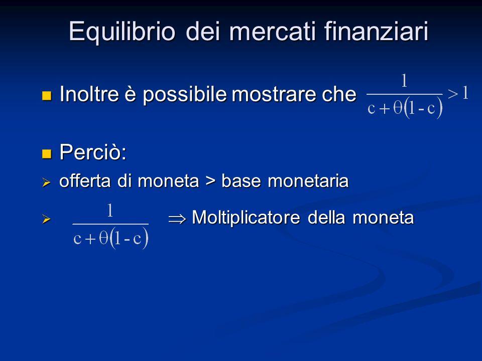 Inoltre è possibile mostrare che Inoltre è possibile mostrare che Perciò: Perciò: offerta di moneta > base monetaria offerta di moneta > base monetari