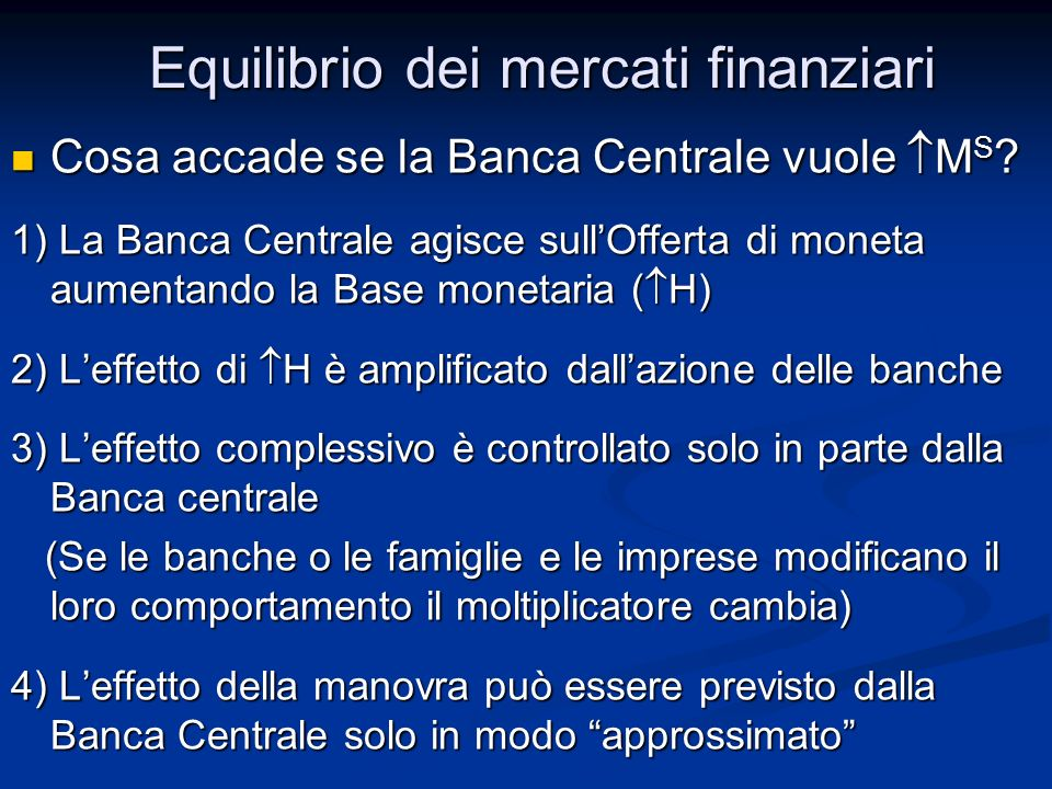 Cosa accade se la Banca Centrale vuole M S ? Cosa accade se la Banca Centrale vuole M S ? 1) La Banca Centrale agisce sullOfferta di moneta aumentando