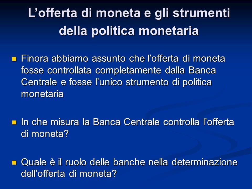Finora abbiamo assunto che lofferta di moneta fosse controllata completamente dalla Banca Centrale e fosse lunico strumento di politica monetaria Fino