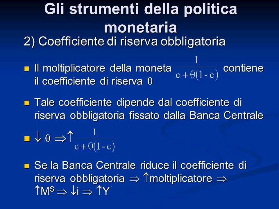 2) Coefficiente di riserva obbligatoria Il moltiplicatore della moneta contiene il coefficiente di riserva Il moltiplicatore della moneta contiene il