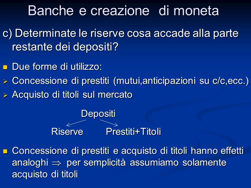 c) Determinate le riserve cosa accade alla parte restante dei depositi? Due forme di utilizzo: Due forme di utilizzo: Concessione di prestiti (mutui,a
