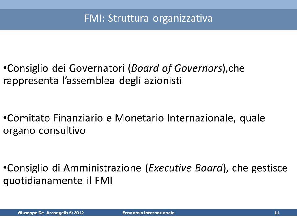 Giuseppe De Arcangelis © 2012Economia Internazionale11 FMI: Struttura organizzativa Consiglio dei Governatori (Board of Governors),che rappresenta las