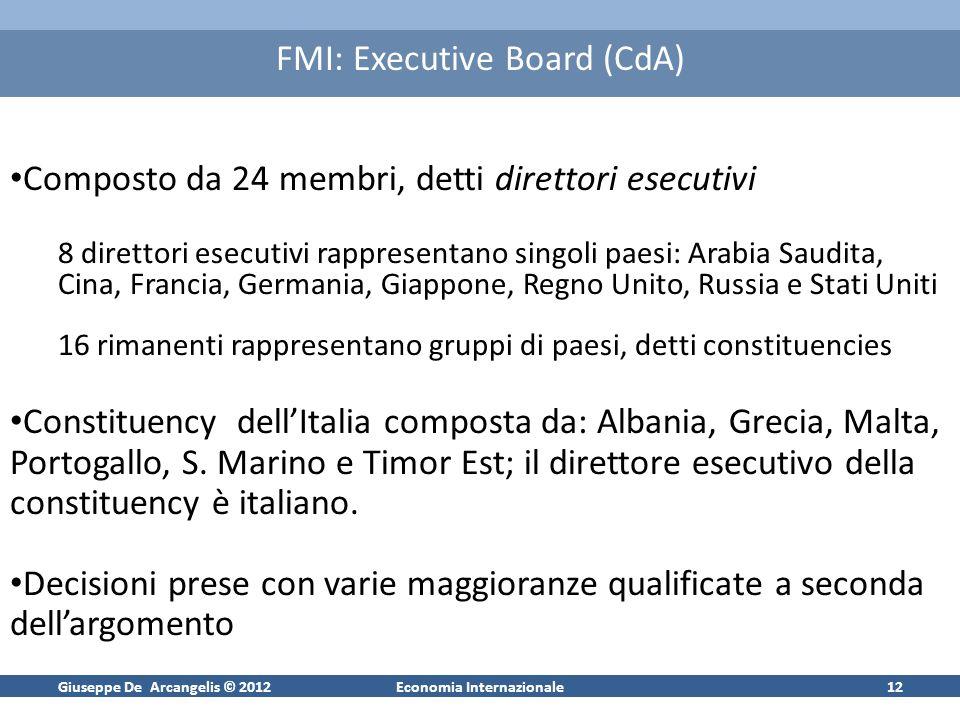 Giuseppe De Arcangelis © 2012Economia Internazionale12 FMI: Executive Board (CdA) Composto da 24 membri, detti direttori esecutivi 8 direttori esecuti