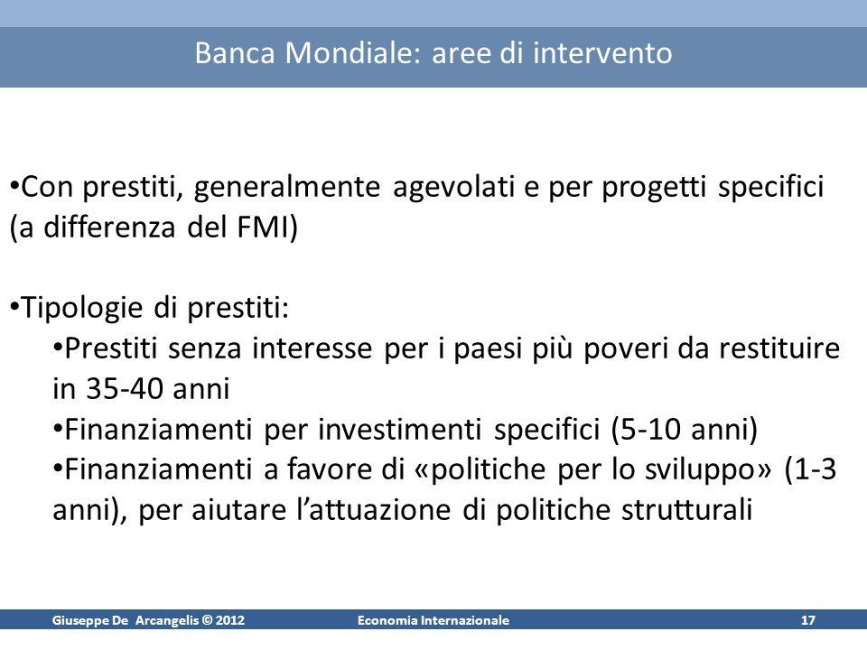 Giuseppe De Arcangelis © 2012Economia Internazionale17 Banca Mondiale: aree di intervento Con prestiti, generalmente agevolati e per progetti specific