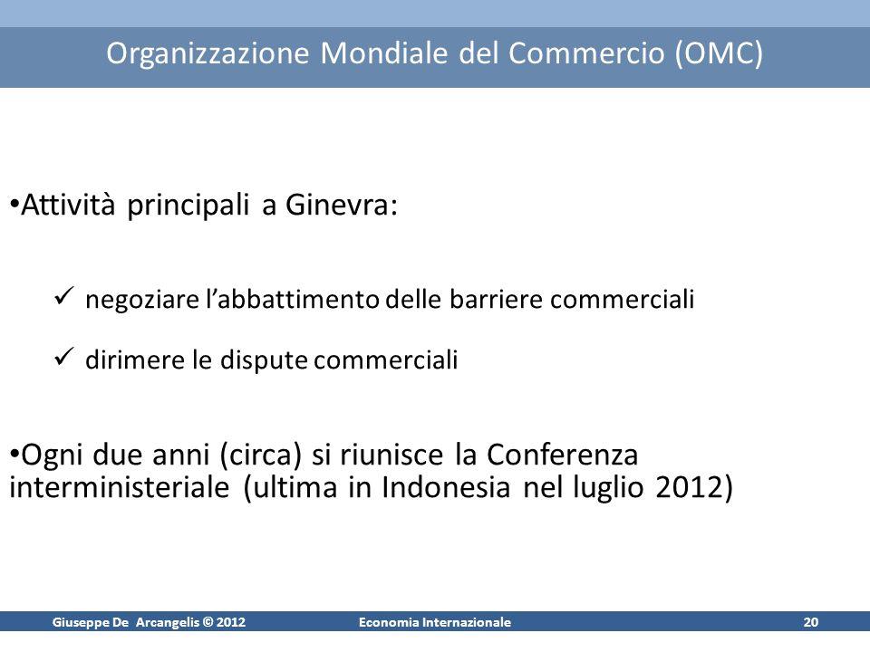 Giuseppe De Arcangelis © 2012Economia Internazionale20 Organizzazione Mondiale del Commercio (OMC) Attività principali a Ginevra: negoziare labbattime