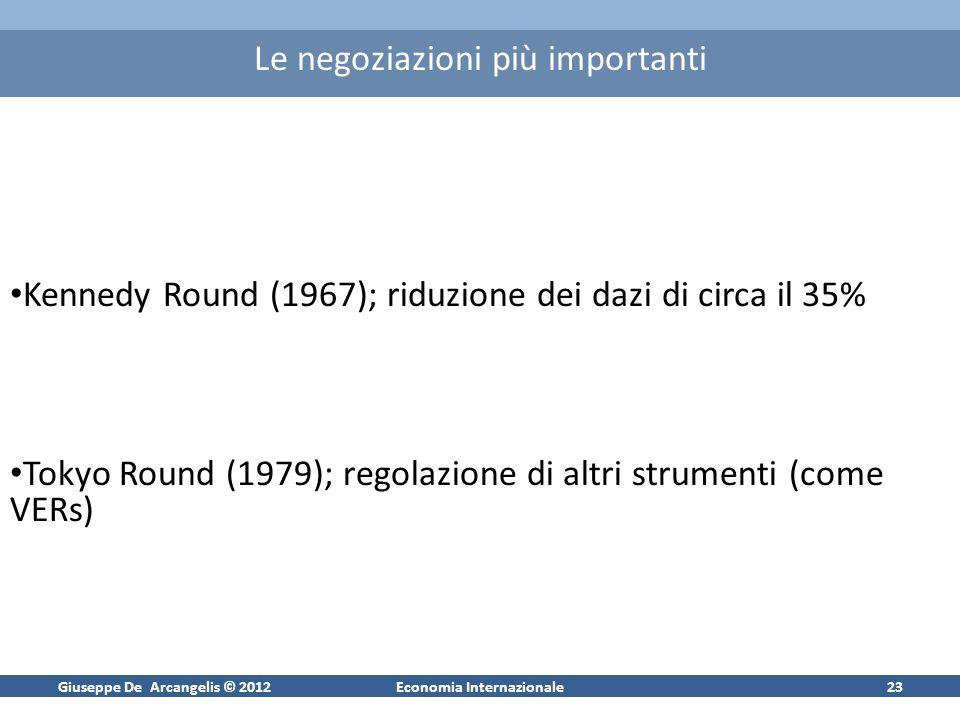Giuseppe De Arcangelis © 2012Economia Internazionale23 Le negoziazioni più importanti Kennedy Round (1967); riduzione dei dazi di circa il 35% Tokyo R
