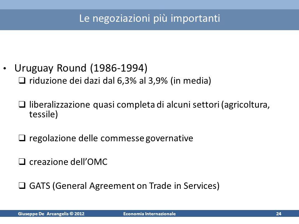 Giuseppe De Arcangelis © 2012Economia Internazionale24 Le negoziazioni più importanti Uruguay Round (1986-1994) riduzione dei dazi dal 6,3% al 3,9% (i