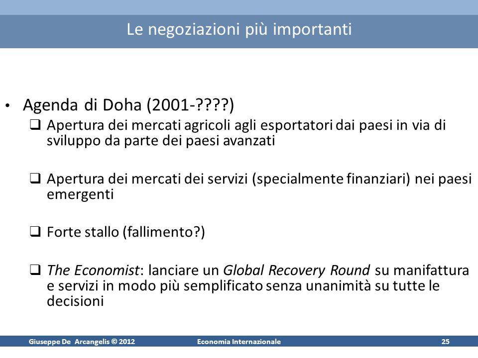 Giuseppe De Arcangelis © 2012Economia Internazionale25 Le negoziazioni più importanti Agenda di Doha (2001-????) Apertura dei mercati agricoli agli es
