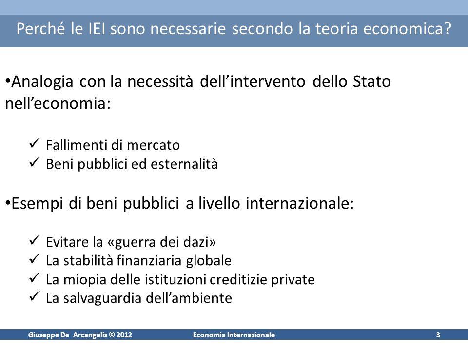 Giuseppe De Arcangelis © 2012Economia Internazionale3 Perché le IEI sono necessarie secondo la teoria economica? Analogia con la necessità dellinterve