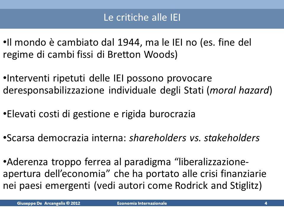 Giuseppe De Arcangelis © 2012Economia Internazionale4 Le critiche alle IEI Il mondo è cambiato dal 1944, ma le IEI no (es. fine del regime di cambi fi