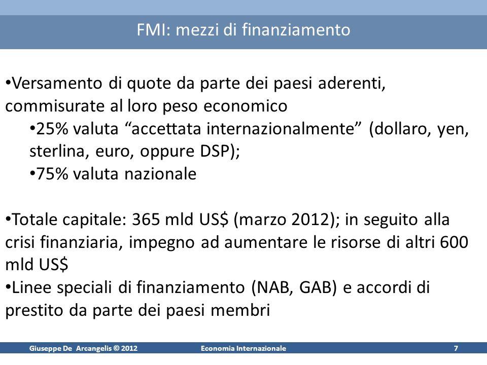 Giuseppe De Arcangelis © 2012Economia Internazionale7 FMI: mezzi di finanziamento Versamento di quote da parte dei paesi aderenti, commisurate al loro