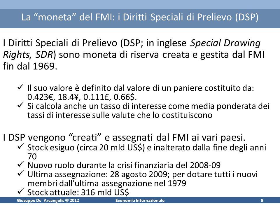 Giuseppe De Arcangelis © 2012Economia Internazionale9 La moneta del FMI: i Diritti Speciali di Prelievo (DSP) I Diritti Speciali di Prelievo (DSP; in