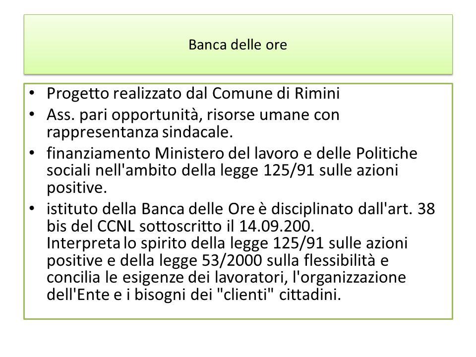 Banca delle ore Progetto realizzato dal Comune di Rimini Ass. pari opportunità, risorse umane con rappresentanza sindacale. finanziamento Ministero de