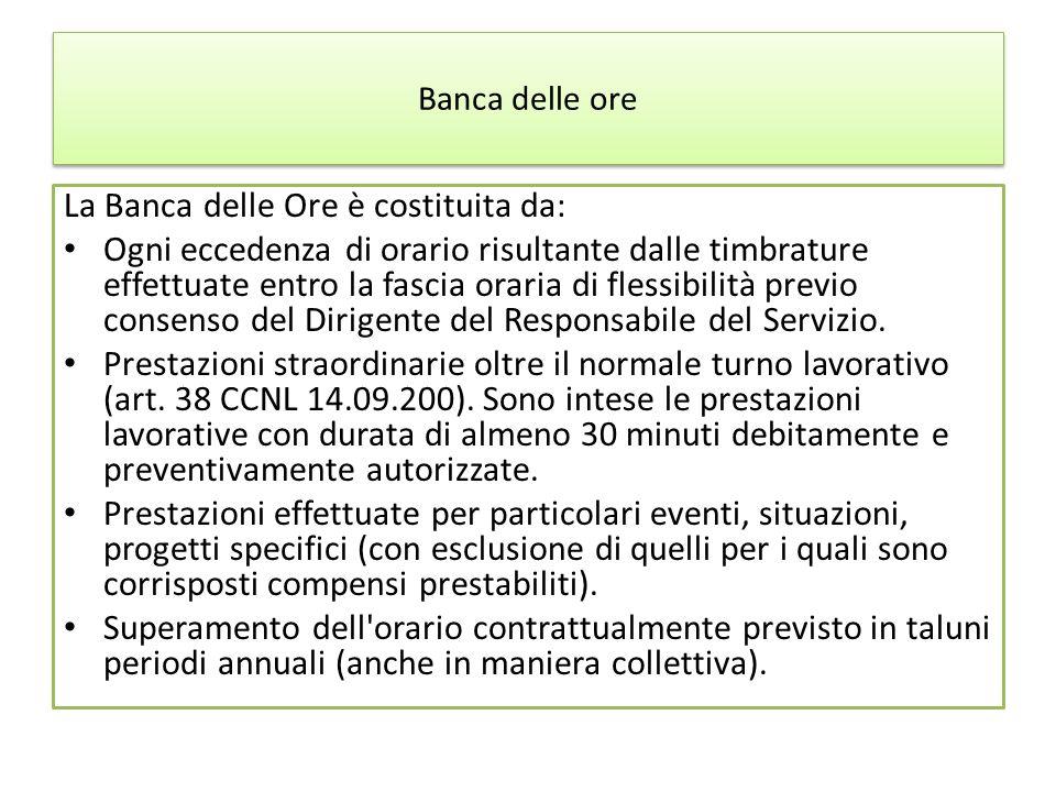 Banca delle ore La Banca delle Ore è costituita da: Ogni eccedenza di orario risultante dalle timbrature effettuate entro la fascia oraria di flessibi